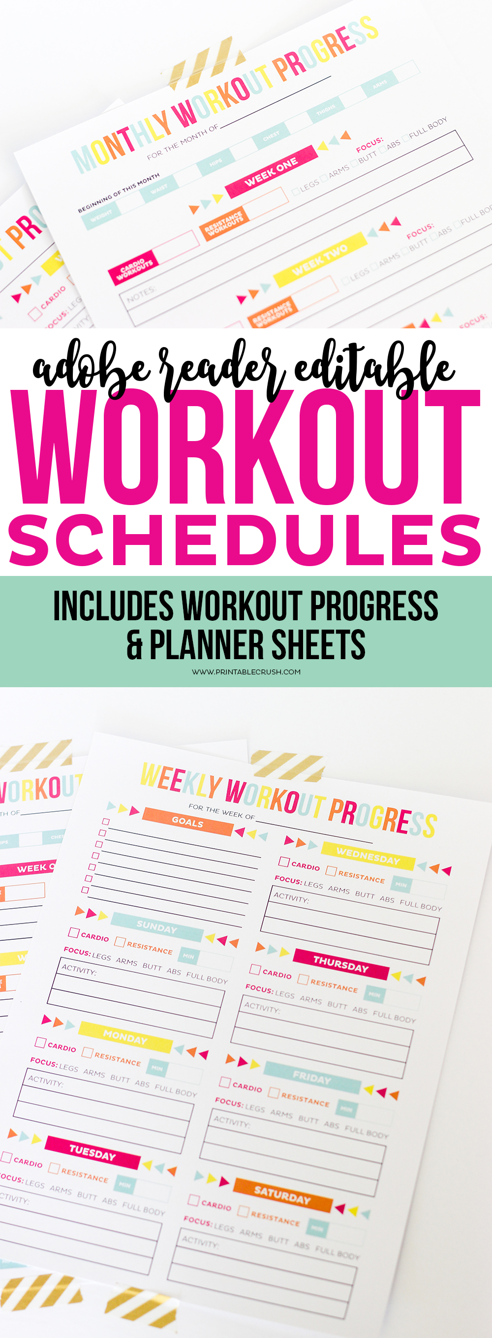 Download this Adobe Reader Editable Printable Workout Schedule and Progress sheet to help you keep in shape! Completely customize your workout routine with these printables!