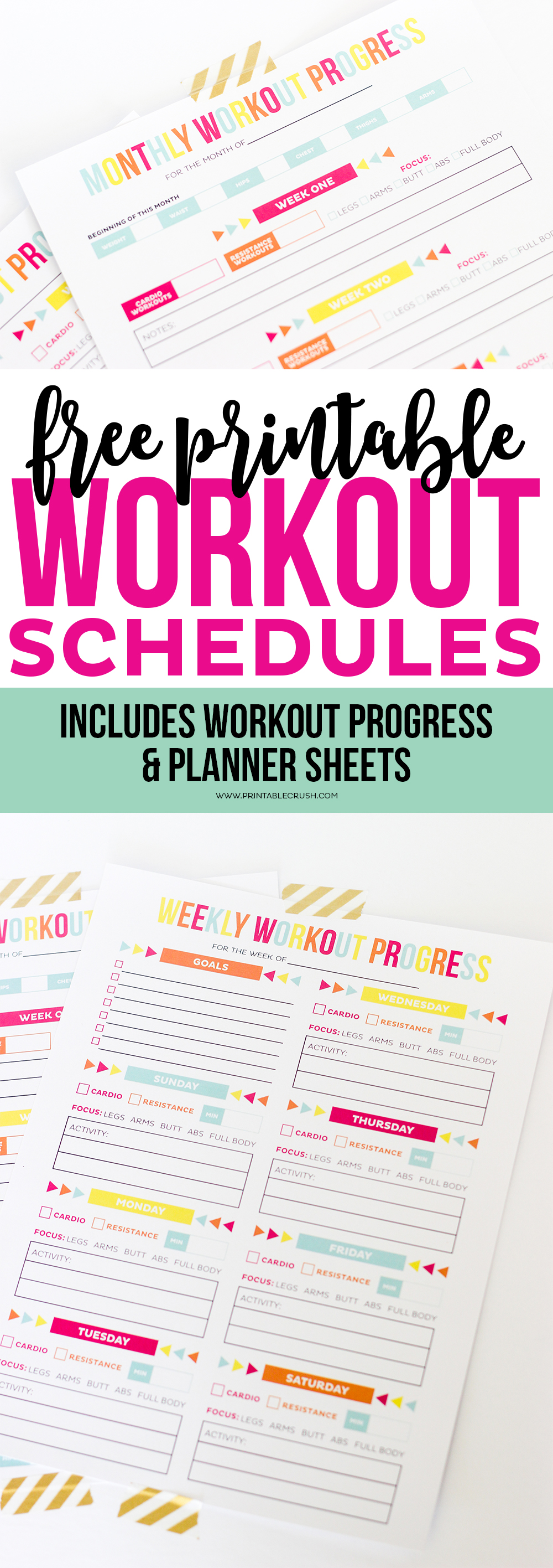 Download this FREE Printable Workout Schedule and Progress sheet to help you keep in shape! Completely customize your workout routine with these printables!