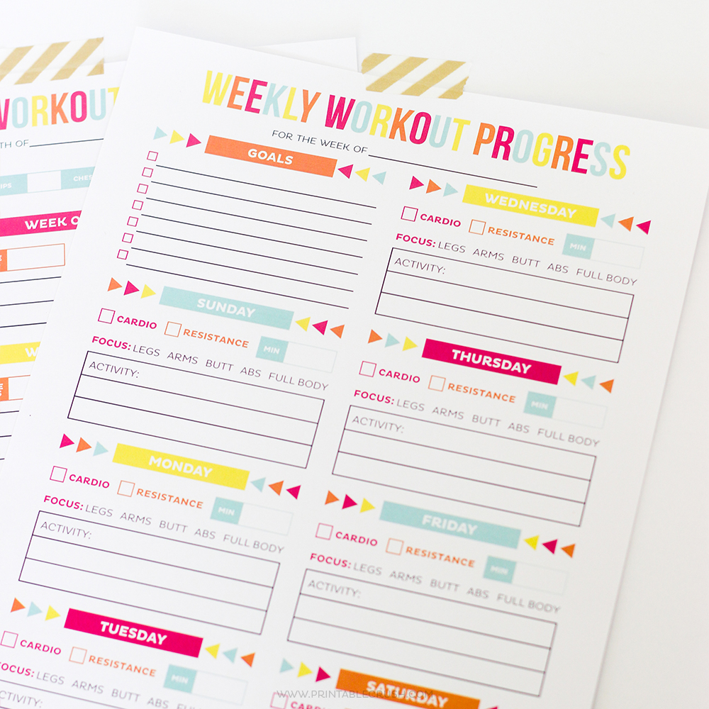 Editable Printable Workout Schedule - Printable Crush