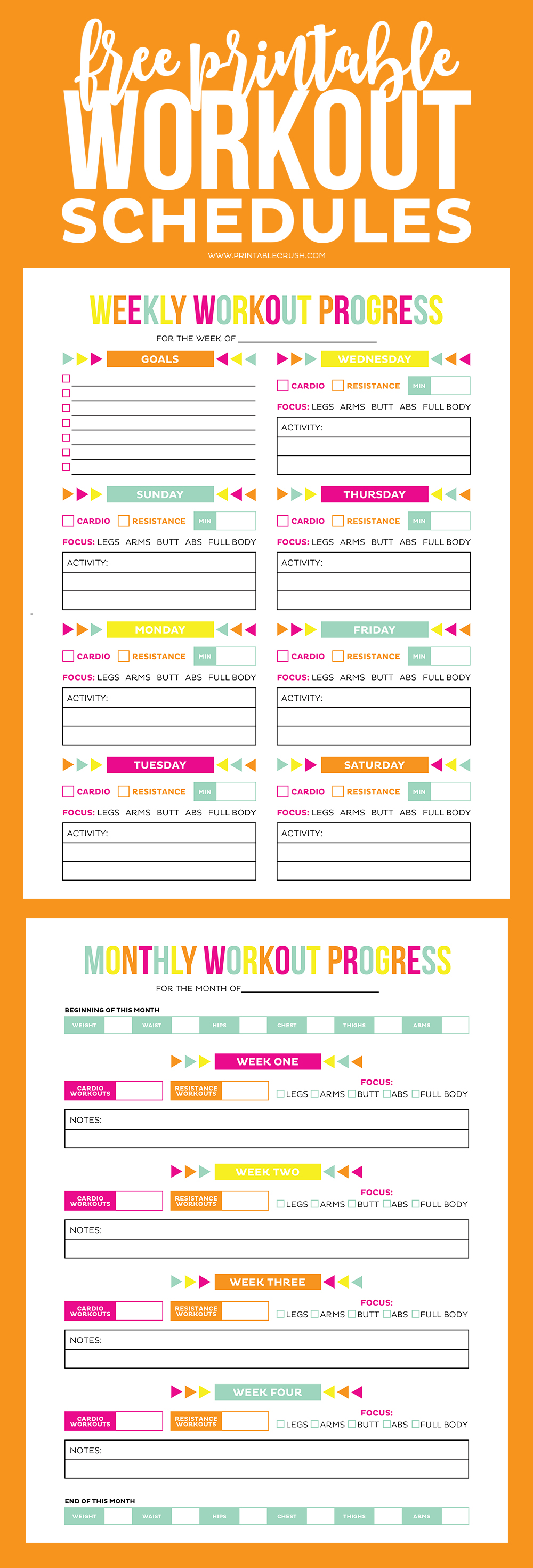 FREE Printable Workout Schedule - Printable Crush