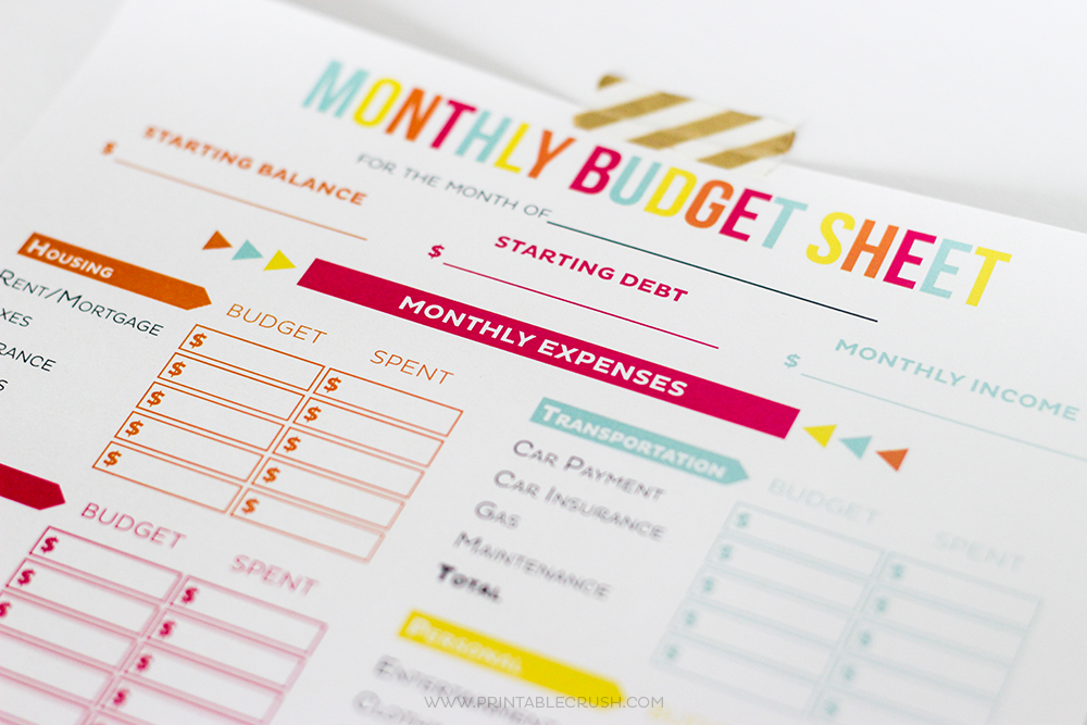 Free Printable Budget Sheets  Printable Crush