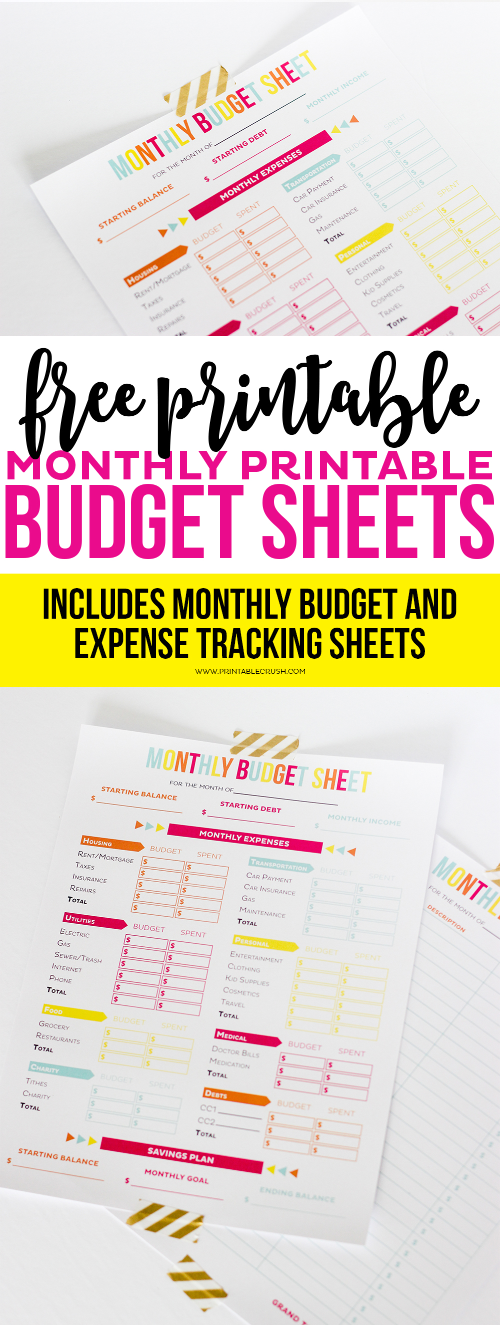 FREE Printable Budget Sheets Printable Crush – Free Printable Budget Worksheets