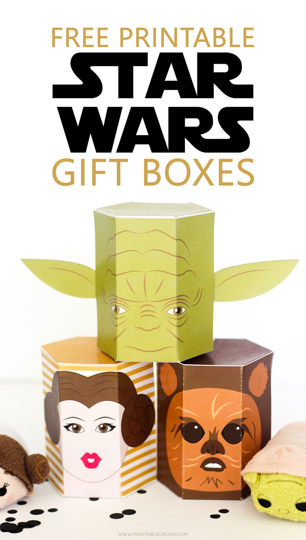 I created even MORE Star Wars FREE Printable Gift Boxes! These are great because you can fill them with treats, presents or cute Tsum Tsums!