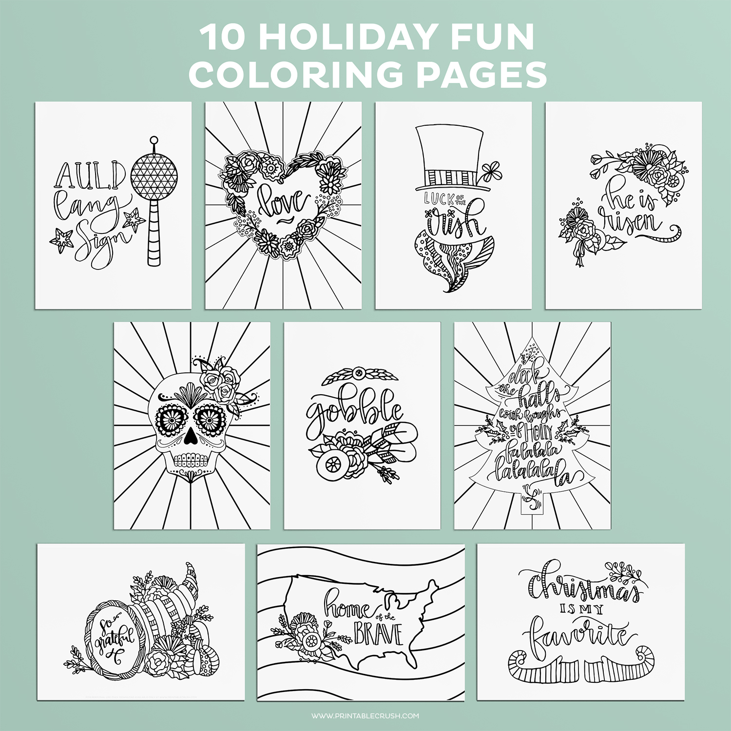 Enjoy Coloring these Holiday Coloring Pages for Adults or Kids! Includes 10 pages for the major US Holidays.