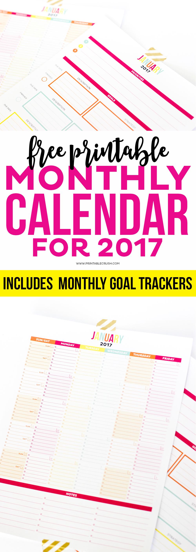 2017 calendar printable monthly