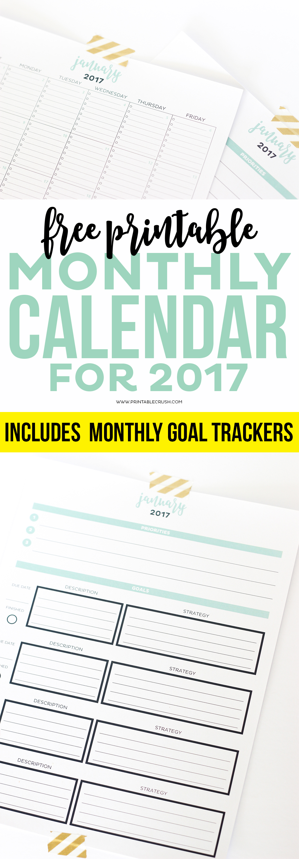 Weekly Calendar With Room For Notes : Simple printable calendar and goal planner