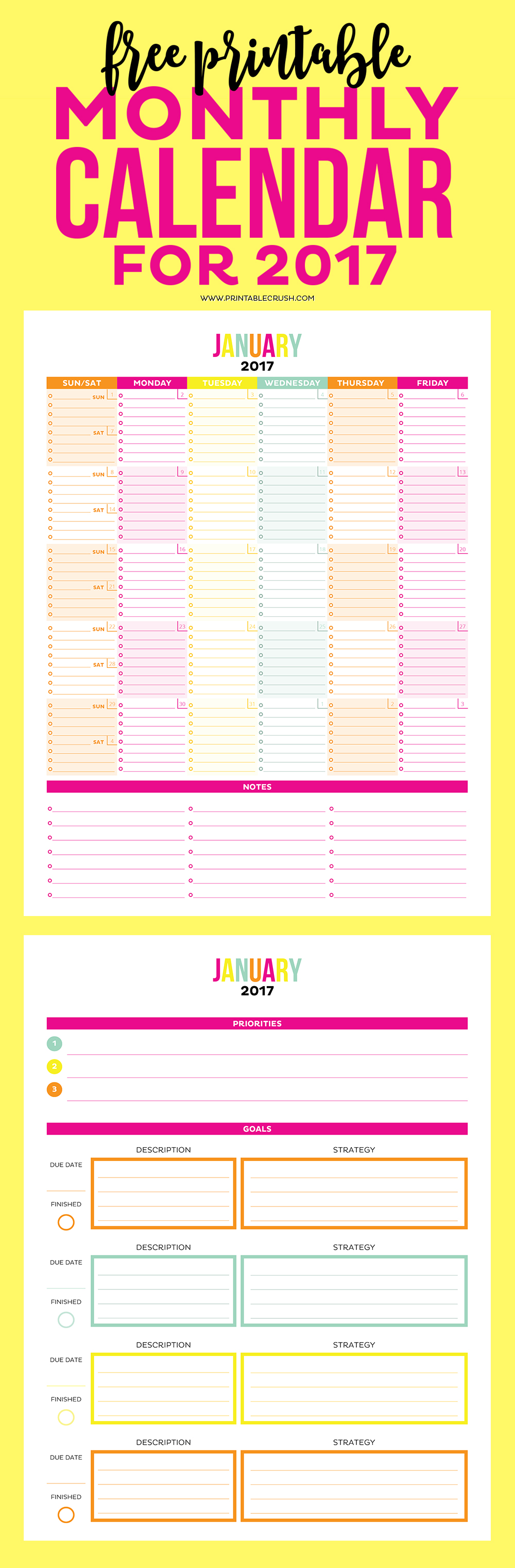 Weekly Calendar With Notes : Printable monthly calendar and goal sheets