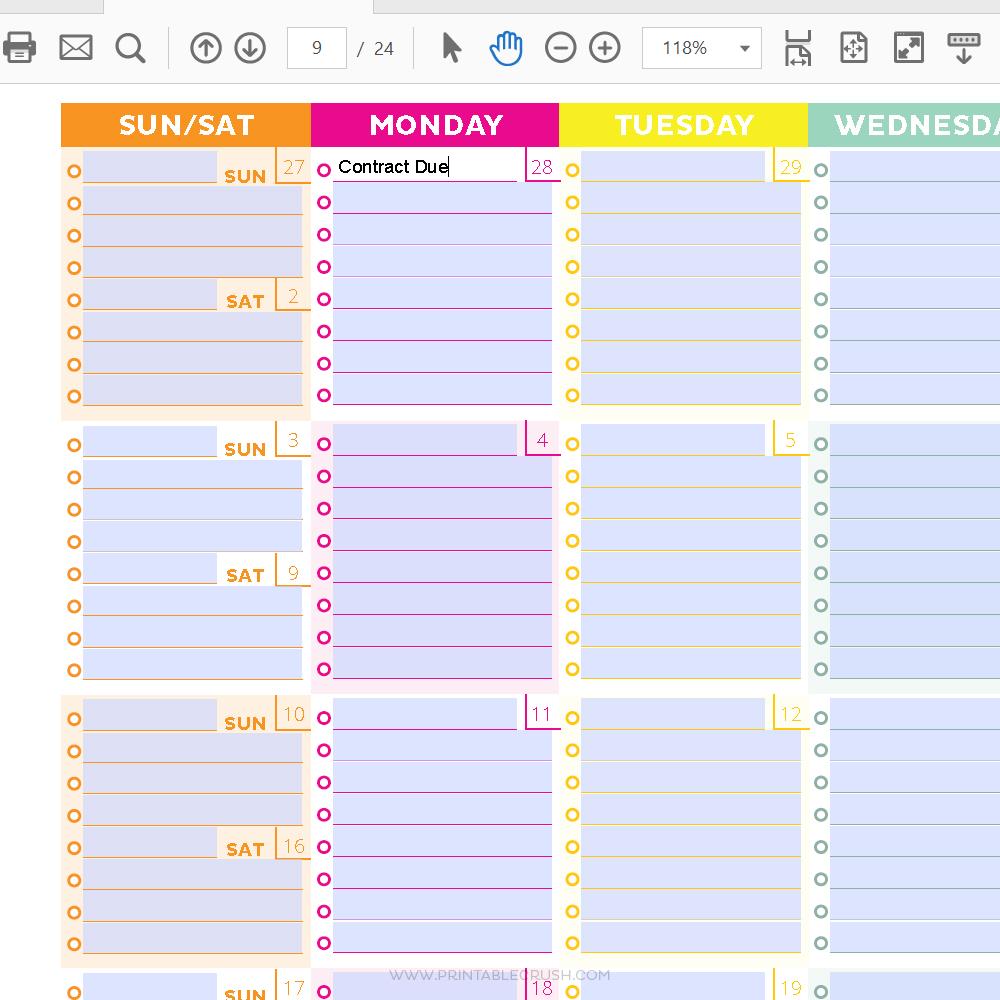 Calendar Year Goals Record : Editable monthly calendar and goal tracker