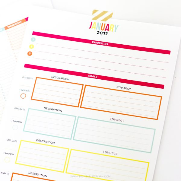 This is THE MOST functional Printable Monthly Calendar! It includes room for tasks, notes, plus a whole page for monthly goal tracking.