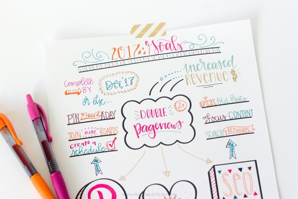 FREE Printable Hand Lettered Goal Setting Worksheet