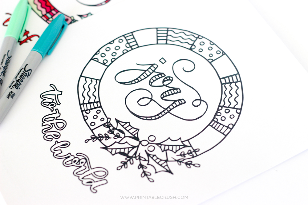 FREE Joy to the World Christmas Coloring Page