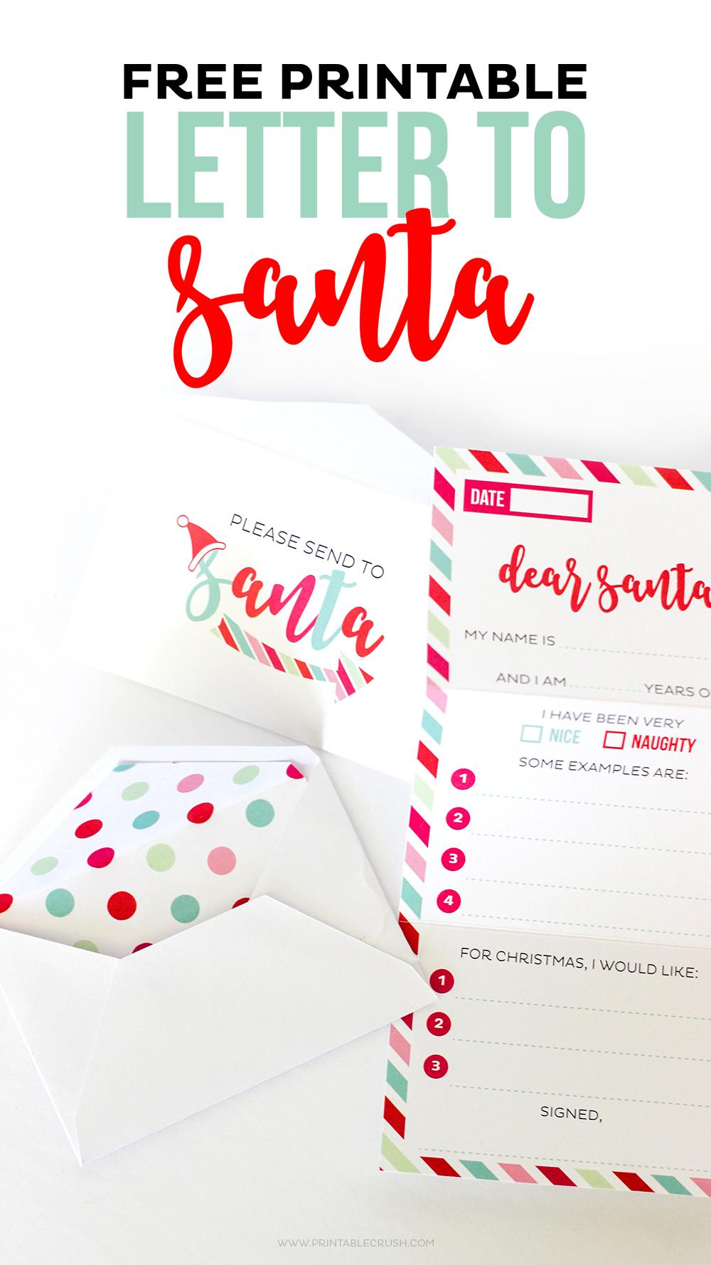 free santa letter printable envelope and liners printable crush
