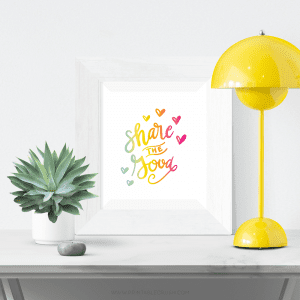 This Share the Good Art Hand Lettered Art Print will be the perfect addition to your modern and colorful home!