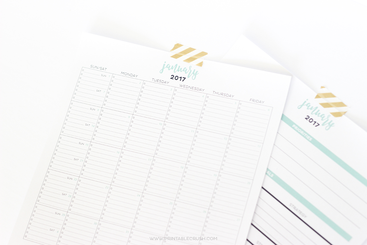 2017 Simple Printable Calendar and Goal Planner