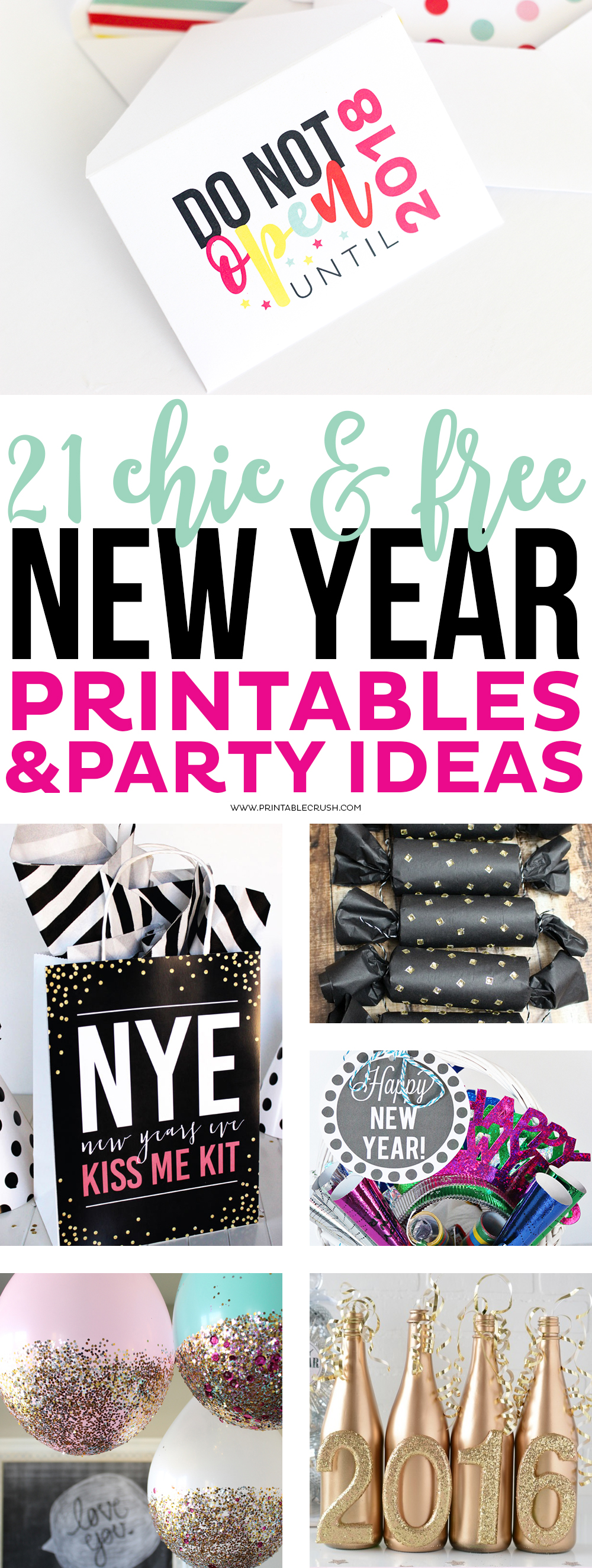 I have rounded up 21 Chic and FREE New Year Printables and Party Decor Ideas! This includes everything you need for a fun and gorgeous party!