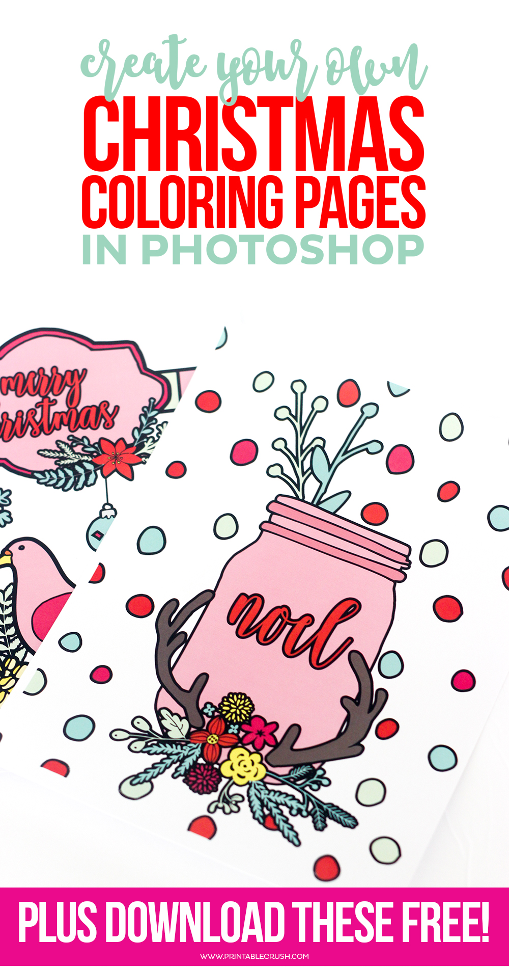 learn to create christmas coloring pages in photoshop printable