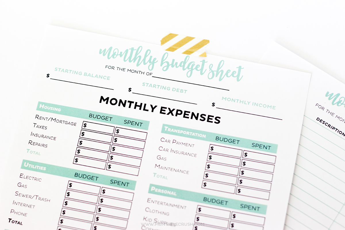 Get Your Finances In Order With These Simple FREE Printable Budget  Worksheets! Includes Monthly Budget  Printable Expense Sheet