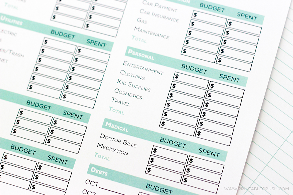 Simple Free Printable Budget Worksheets  Printable Crush