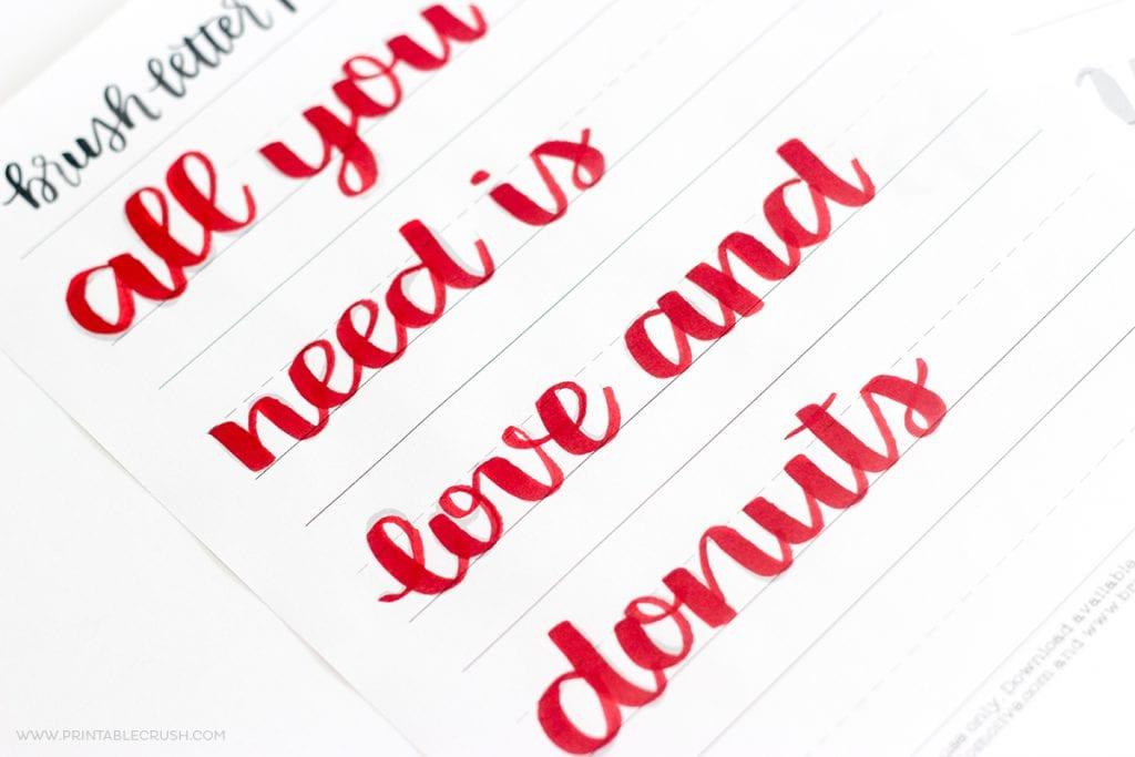 FREE Valentine Brush Lettering Practice Sheet