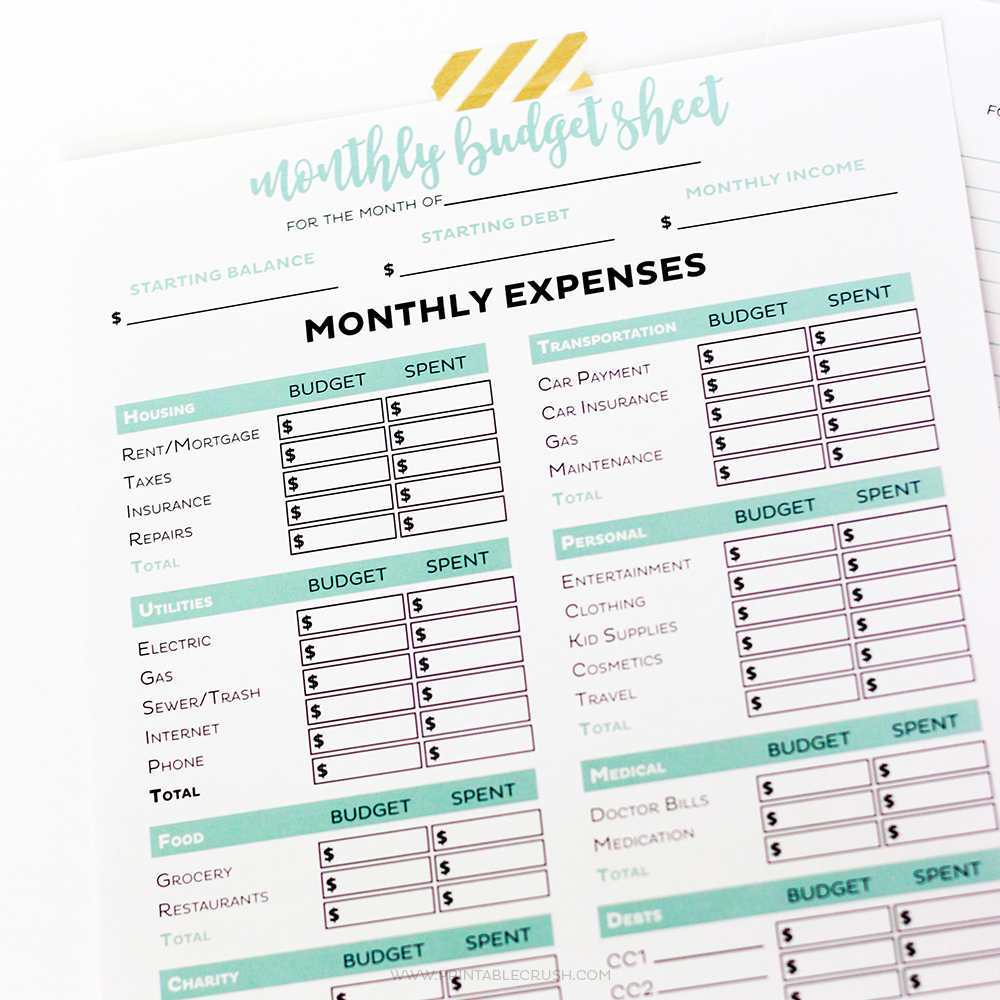 Simple Editable Budget Worksheets Printable Crush – Simple Monthly Budget Worksheet