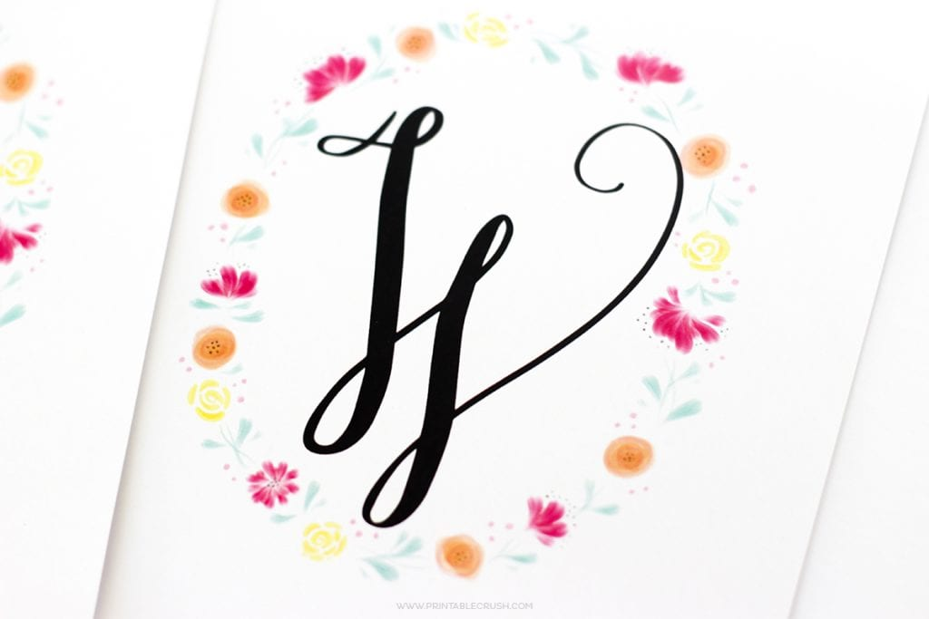 FREE Printable Watercolor Monogram Wreaths
