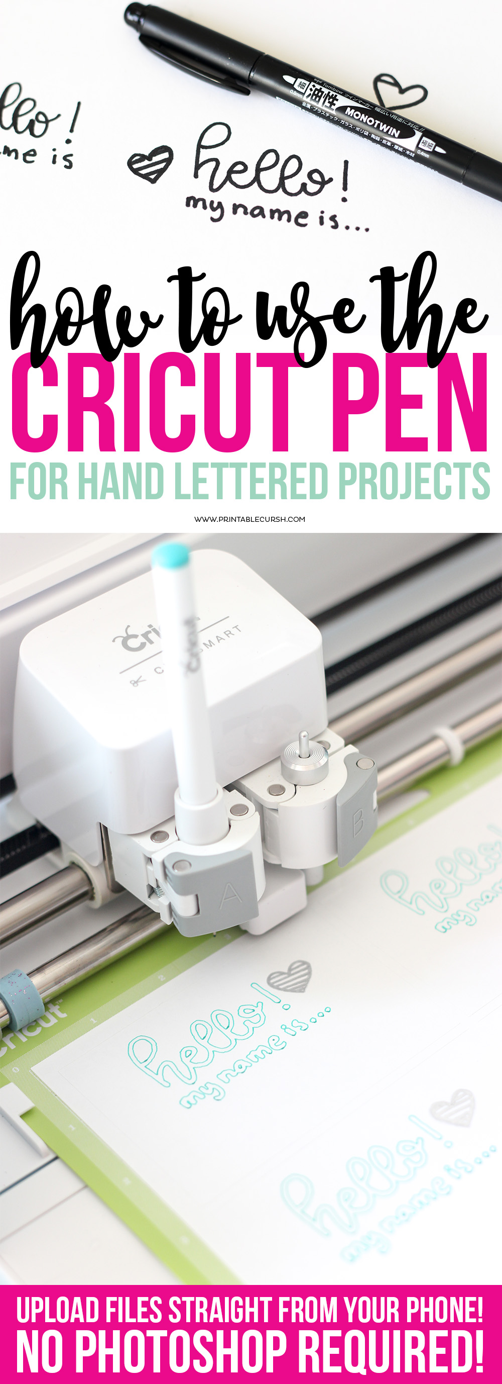 Learn how to create Cricut Pen Hand Lettering Projects with this super quick and easy tutorial. No need for photoshop...just use your phone and Cricut Design Space!