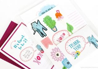 Use premade graphics and the Cricut to Make Your Own Stickers and Stationery Party Favors. Create them to match the invitations you design!