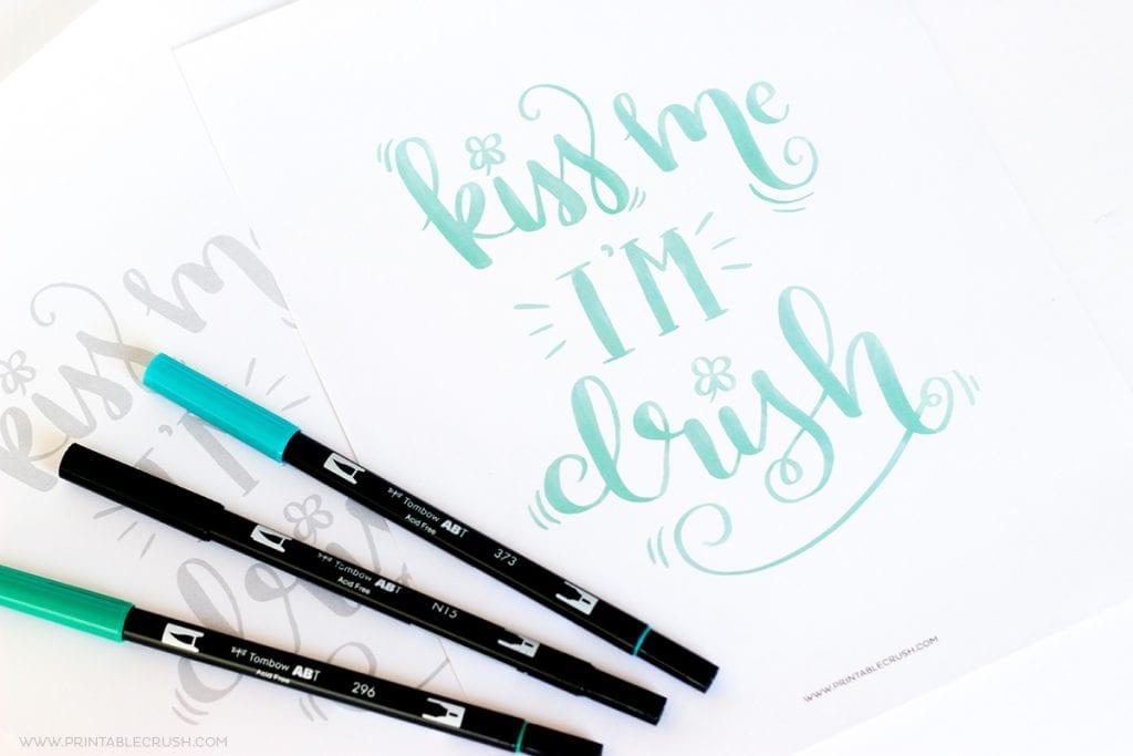 FREE Printable St. Patrick's Day Brush Lettering Worksheet