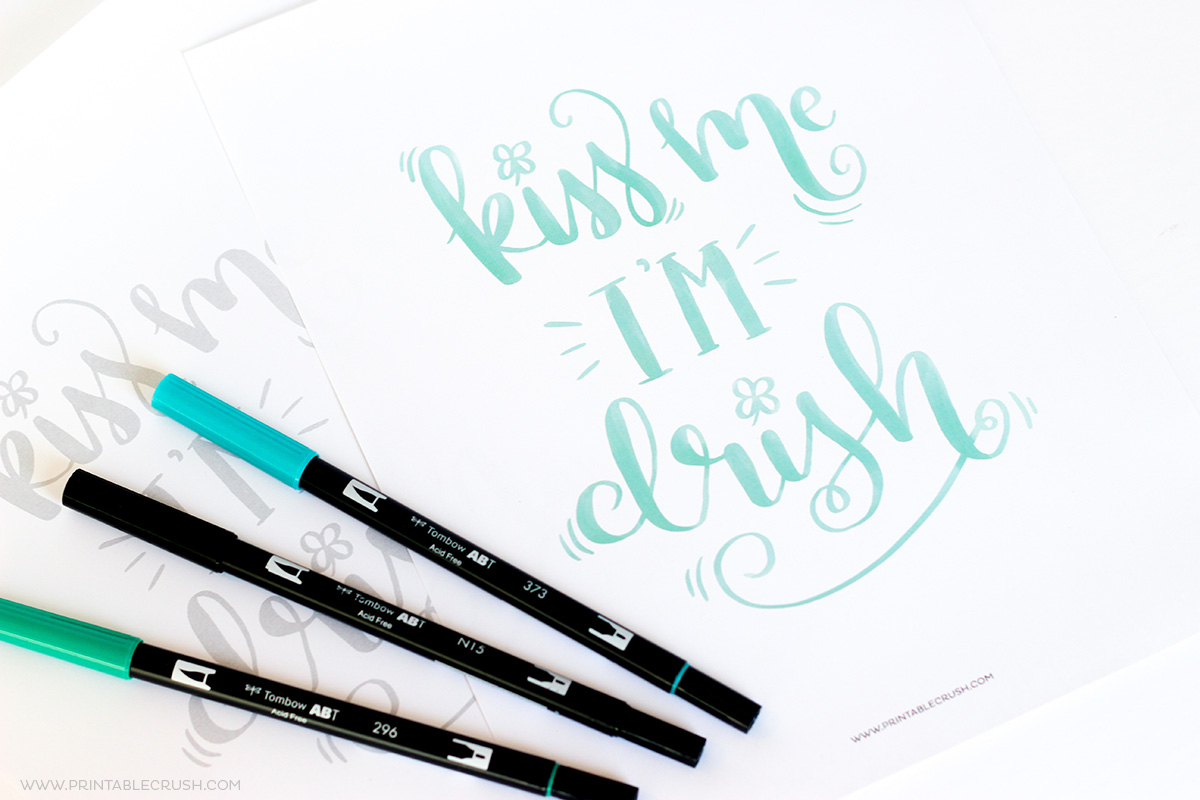Free printable st. patricks day brush lettering worksheet