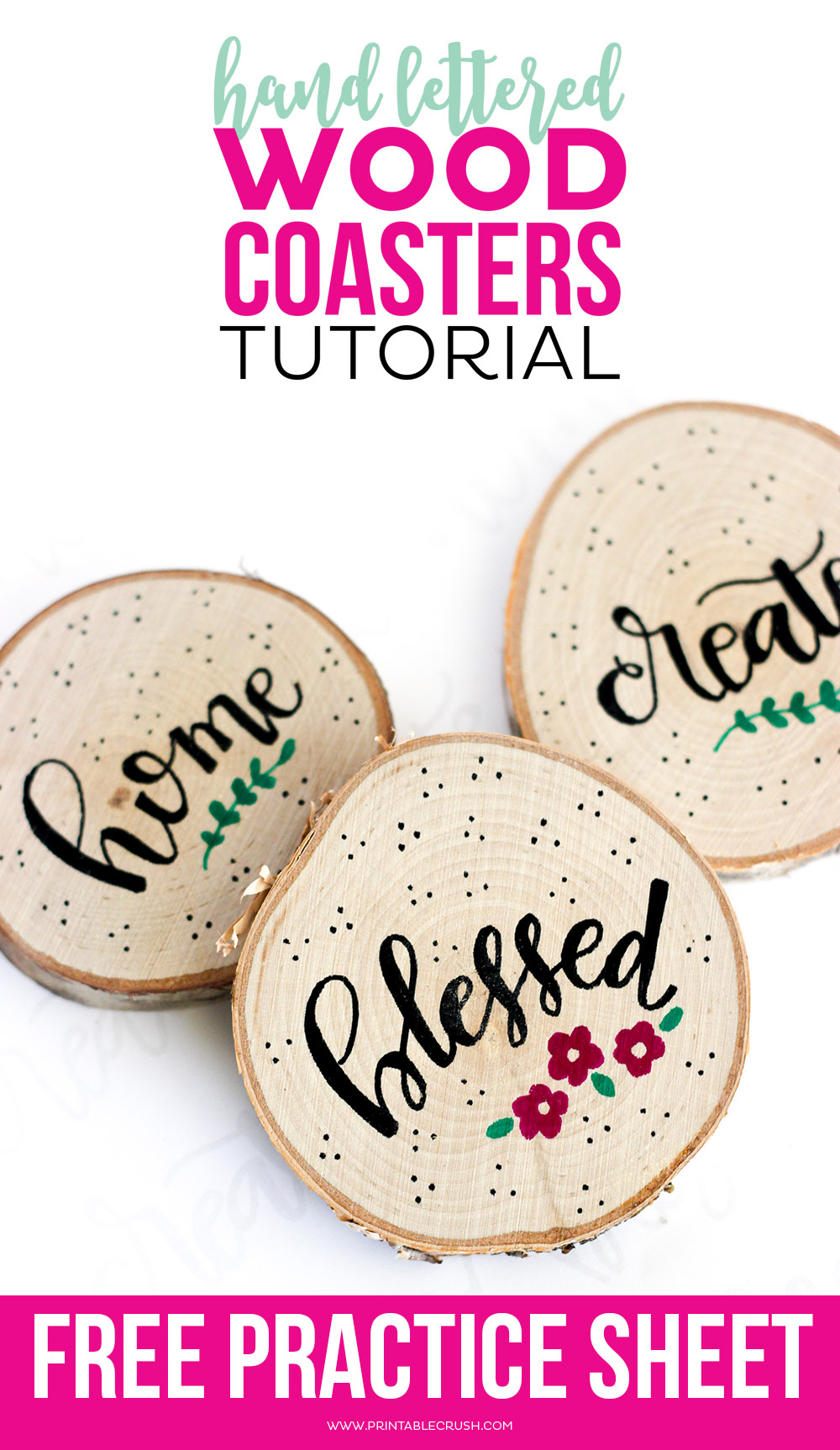 How to make hand lettered wood coasters printable crush creating these hand lettered wood coasters is so easy with this tutorial includes free hand baditri Images