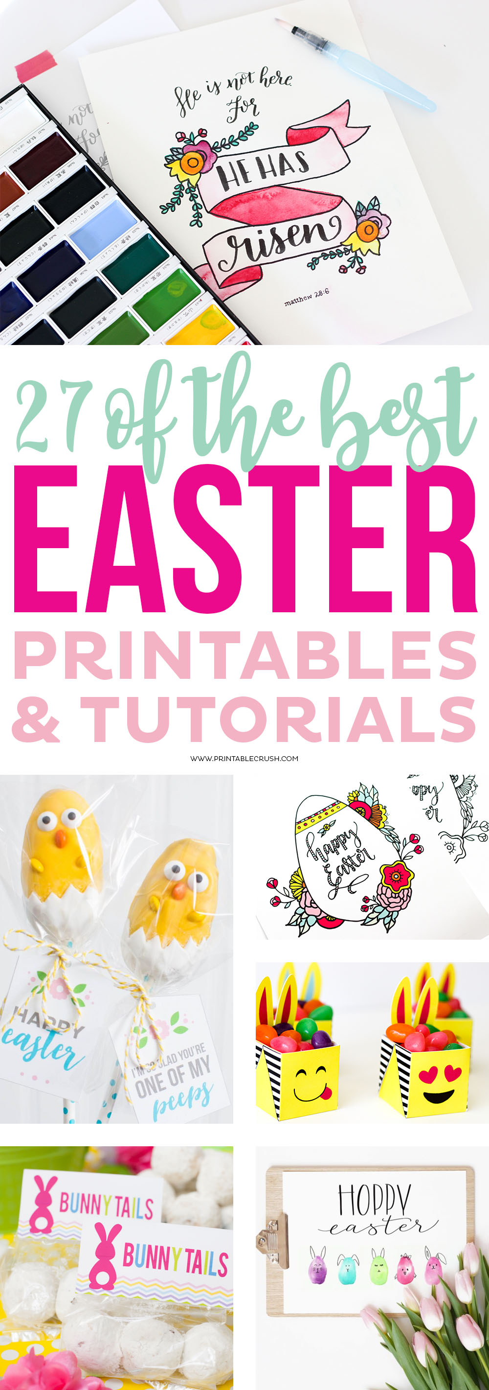 Check out 27 of the BEST Easter Printables and Tutorials to help you get started planning for Easter! Includes everything you need from place settings to Easter Hand Lettering worksheets!