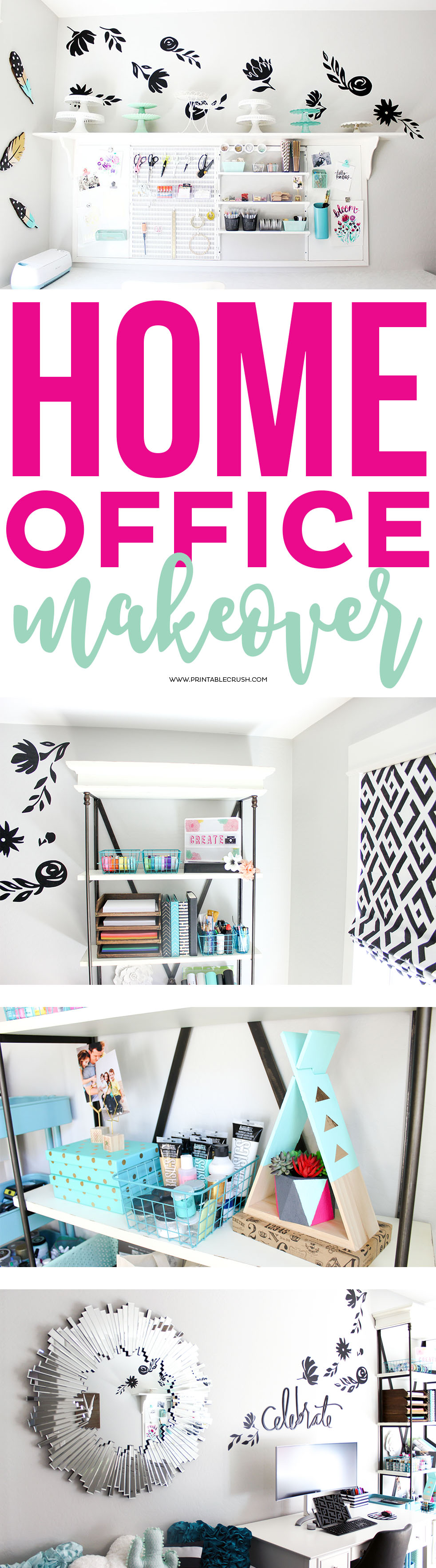 Find all the details for this GORGEOUS Craft Room and Home Office Makeover, including where to buy everything and links to all the DIY tutorials!
