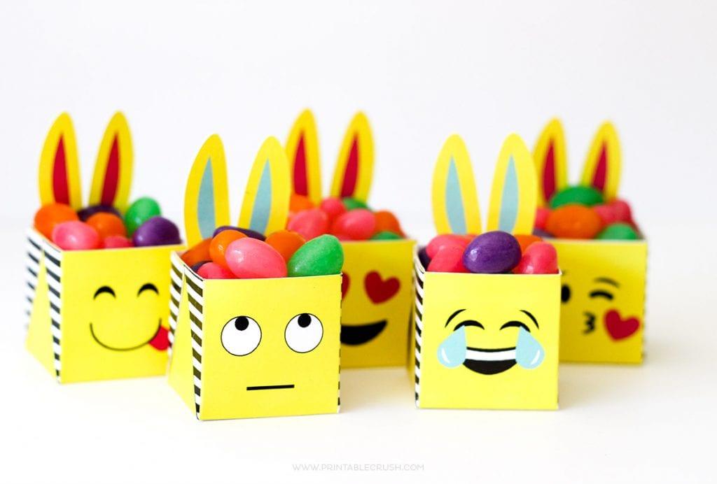 FREE Printable Emoji Easter Bunny Boxes