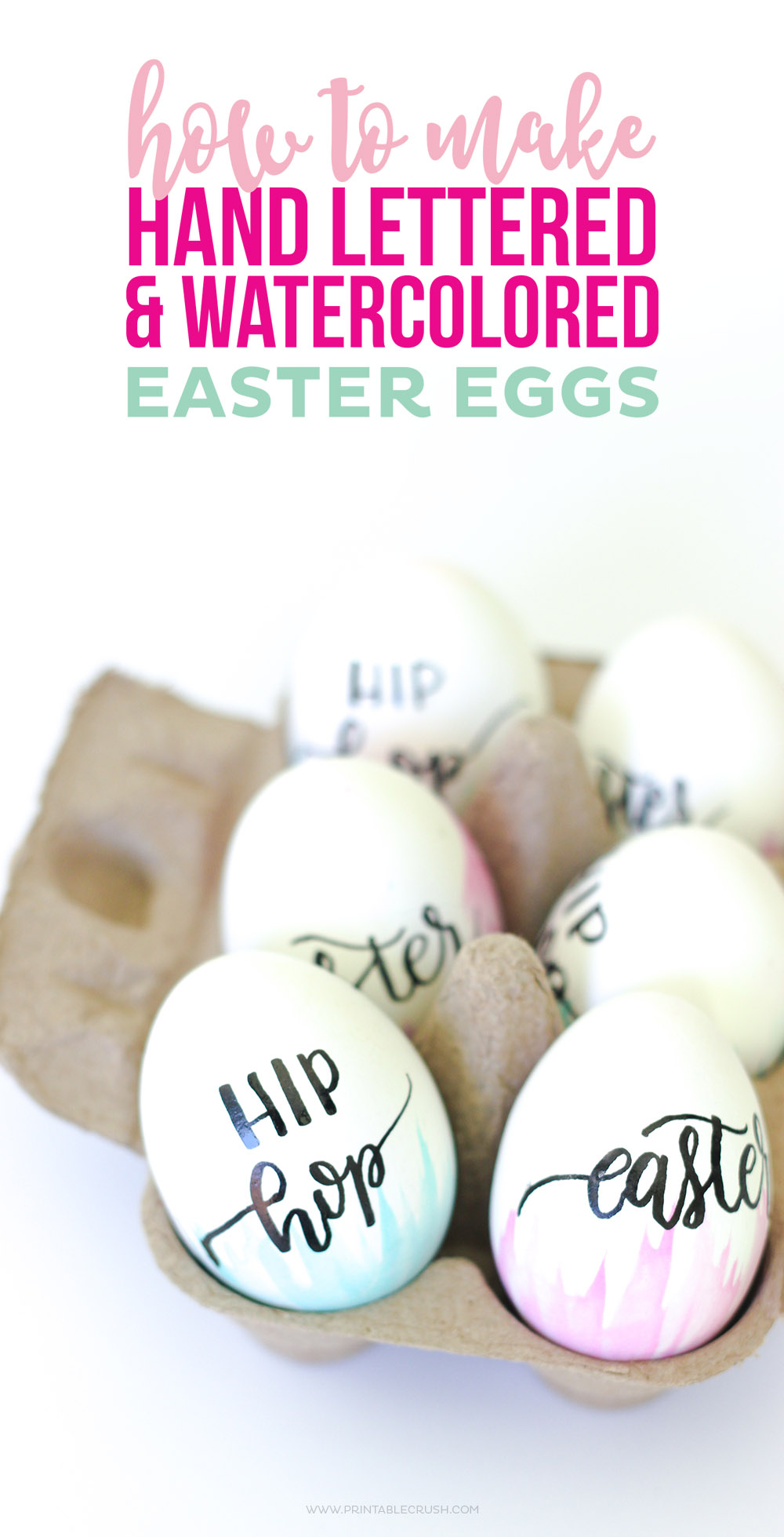 Hand lettered & water colored easter eggs