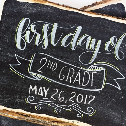 Hand Lettered First Day of School Chalkboard Signs