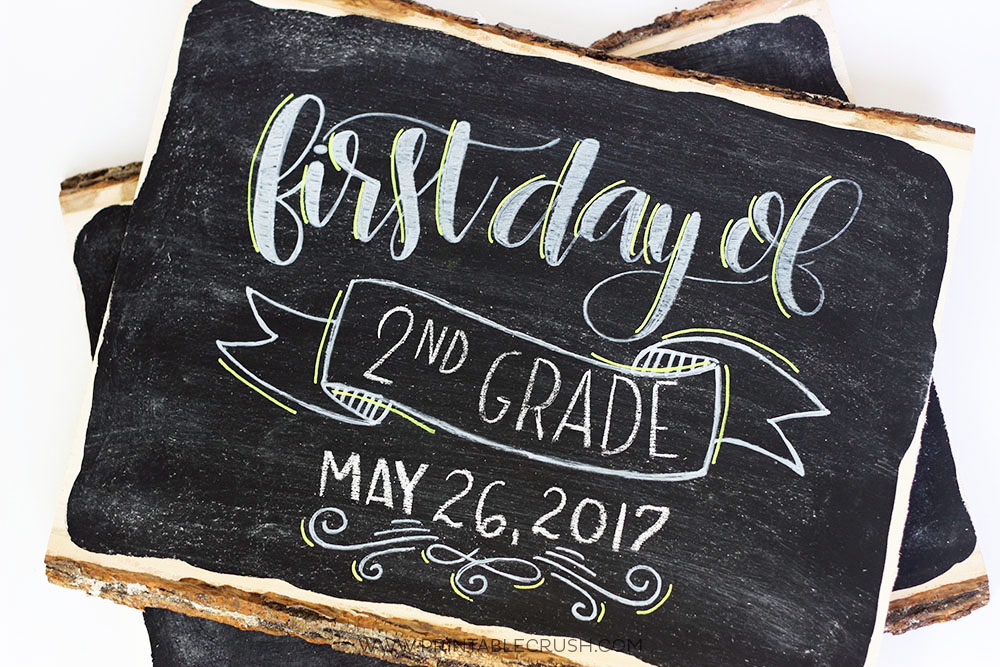 Last day of school hand lettered chalkboard signs for First day of school sign template