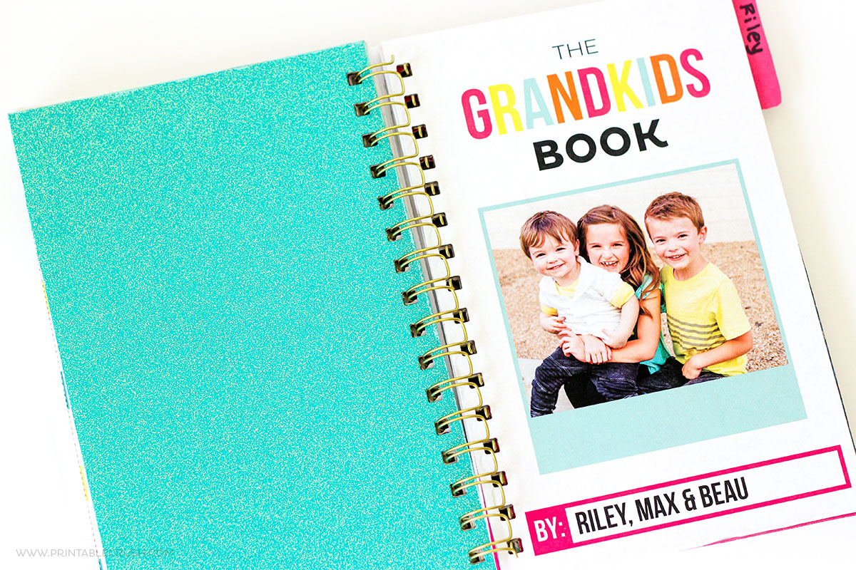 Grandma will LOVE this DIY Spiral Bound Book made with the Cinch. It's full of pictures, drawings, and facts about her grandkids, which makes it the perfect Mother's Day gift!