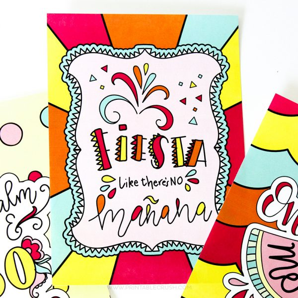 """This Summer Fun Coloring Pages pack includes 9 hand drawn and hand lettered designs that you can print out and color as many times as you like! It also includes 8""""X10"""" and 5""""X7"""" art prints that are already colored in with bright summer colors. The best part is that adults and children will love these amazing designs!"""