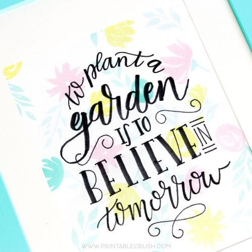 Download this FREE Printable Hand Lettering Worksheet and follow this Hand Lettered Fabric Tutorial to create a beautiful piece of artwork!