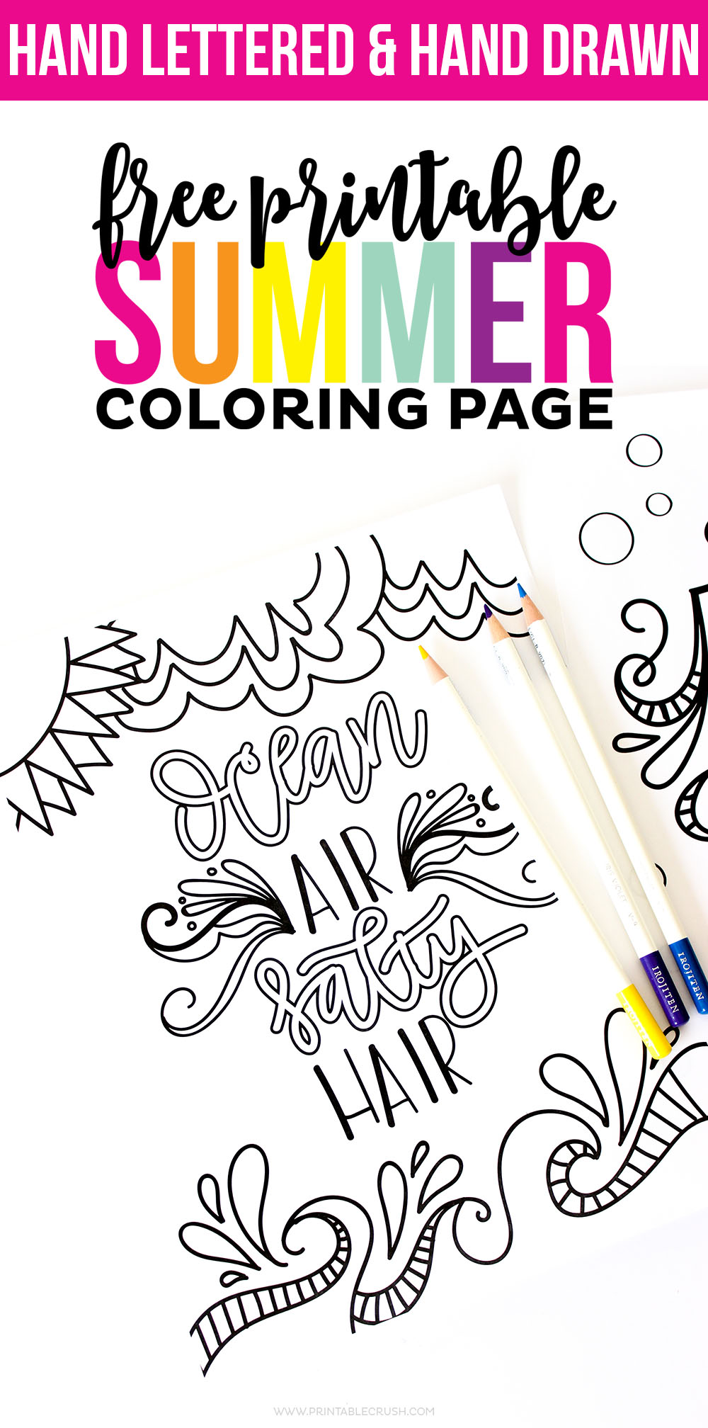 hand lettered free printable summer coloring page printable crush