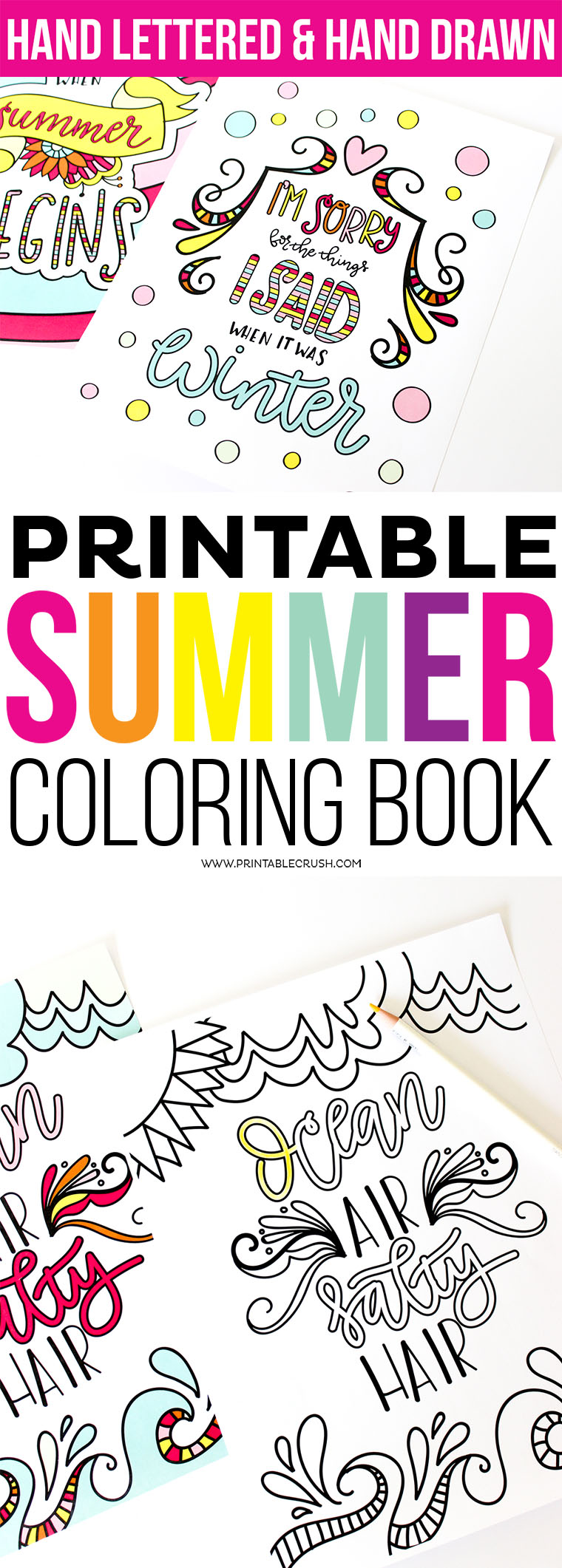 """Enjoy Coloring these Hand Lettered Coloring Pages for Adults or Kids! Includes 9 Coloring Pages and art prints for each design in 8""""X10"""" and 5""""X7"""" sizes."""