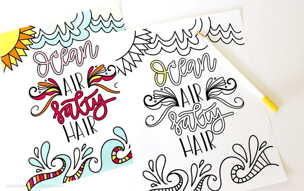 Hand Lettered FREE Printable Summer Coloring Page