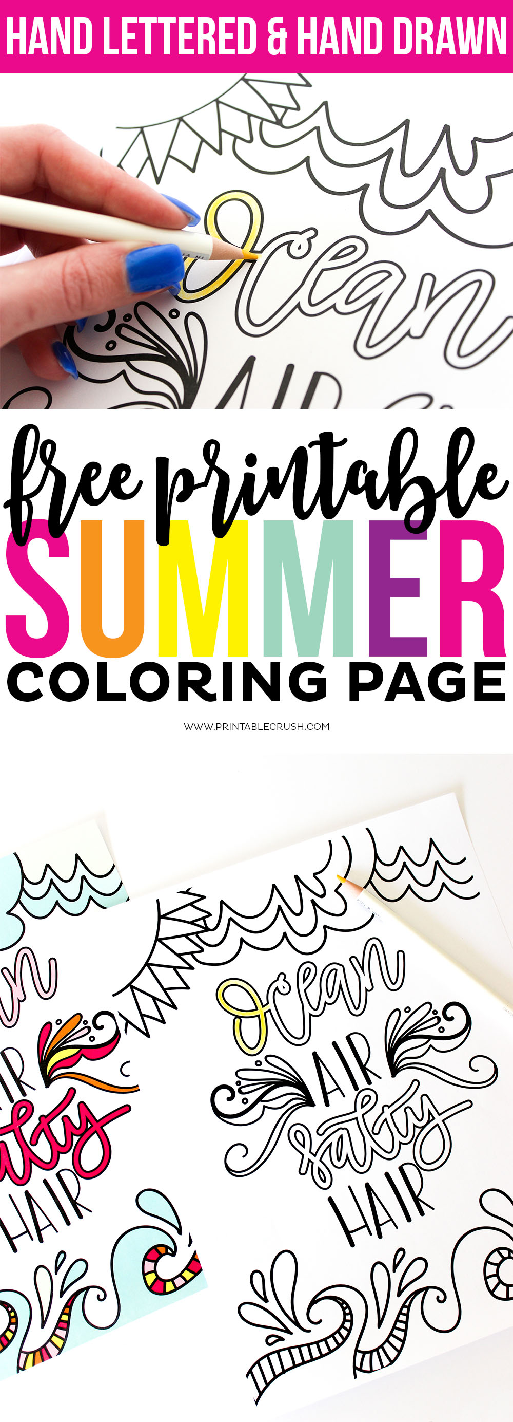 Download this Hand Lettered FREE Printable Summer Coloring Page to enjoy over and over again! This fun design is great for adults or kids on a summer trip!