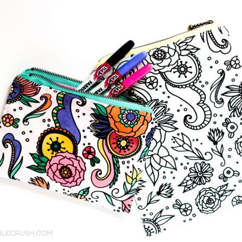 Coloring Book Fabric Zippered Pouch Tutorial