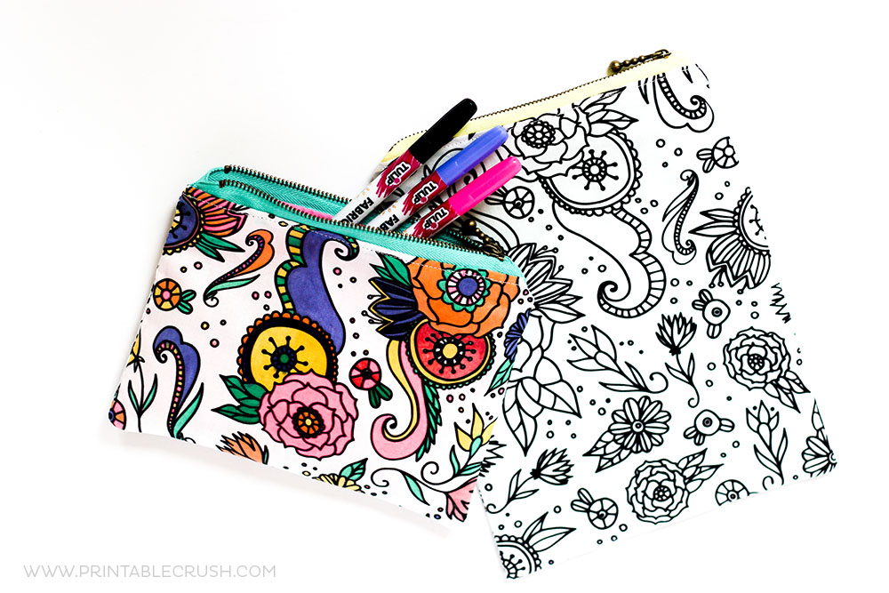 I Used This GORGEOUS Coloring Book Fabric To Create Zippered Pouch Tutorial For You