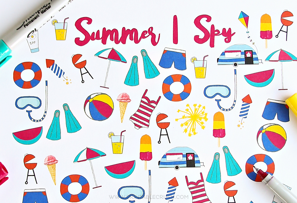 This Summer I Spy Printable is a great way to keep the kids busy this summer through road trips, plane rides, camping trips or just lazy summer days at home.