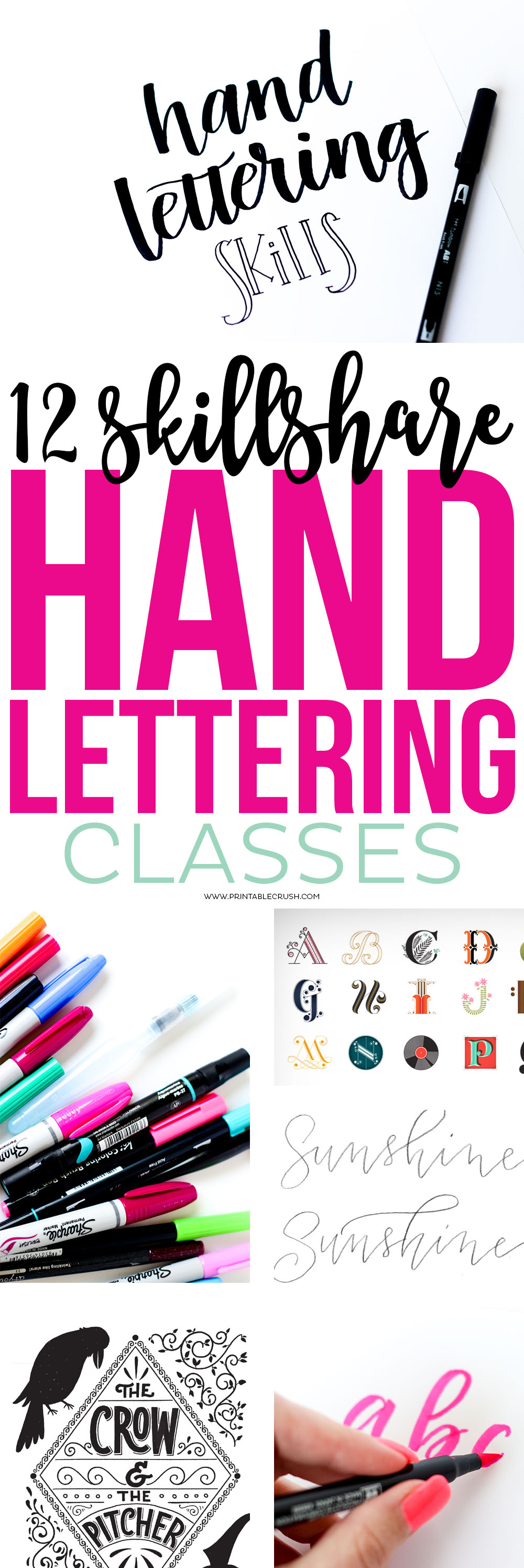 Check out these 12 Skillshare Classes that will help you improve your Hand Lettering Skills!