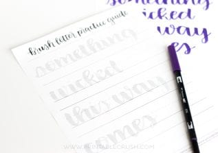 "I love this ""Something Wicked This Way Comes"" Halloween Brush Lettering Practice Sheet from Random Olive! Practice right on the sheet or trace it for beautiful Halloween Wall Art!"