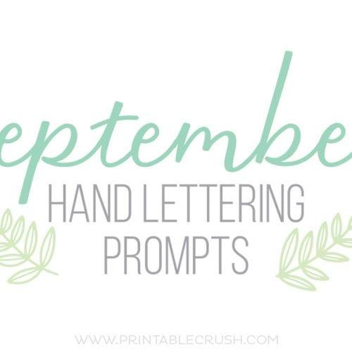 September Hand Lettering Prompts