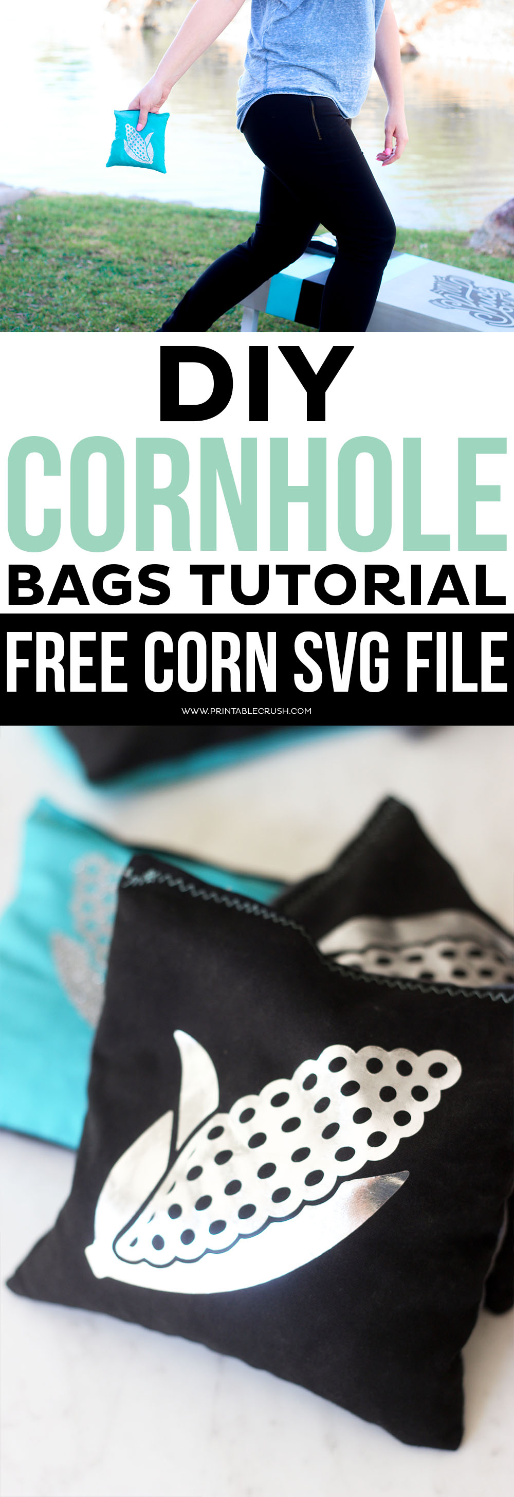 This DIY Cornhole Bags Tutorial will show you how to cut out the pattern with the Cricut Maker, and personalize them with the EasyPress! Includes a FREE Corn on the Cob SVG File.